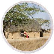 Skn 1401 Rural Background Round Beach Towel