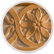 Skn 1788 The Wall Carving  Round Beach Towel