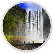 Skogarfoss Round Beach Towel