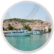 Skopelos Harbour Greece Round Beach Towel