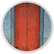 Skc 0401 Closed Red Door Round Beach Towel