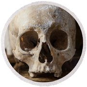 Skull And Old Book Round Beach Towel