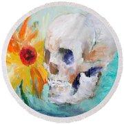 Skull And Sunflower Round Beach Towel