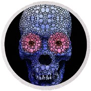 Skull Art - Day Of The Dead 1 Stone Rock'd Round Beach Towel