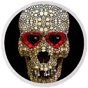 Skull Art - Day Of The Dead 3 Stone Rock'd Round Beach Towel