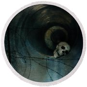 Skull In Drainpipe Round Beach Towel