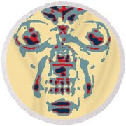 Skull In Negative Hope Round Beach Towel