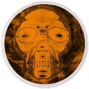 Skull In Negative Orange Round Beach Towel
