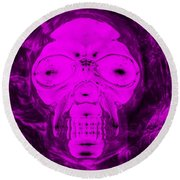 Skull In Negative Purple Round Beach Towel