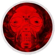 Skull In Negative Red Round Beach Towel