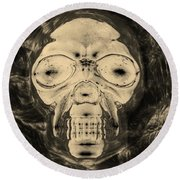 Skull In Negative Sepia Round Beach Towel
