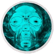 Skull In Negative Turquois Round Beach Towel