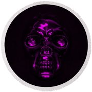 Skull In Purple Round Beach Towel