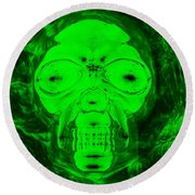 Skull In Radioactive Negative Green Round Beach Towel