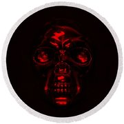 Skull In Red Round Beach Towel