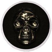 Skull In Sepia Round Beach Towel