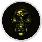 Skull In Yellow Round Beach Towel