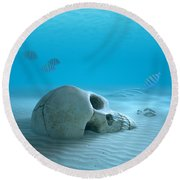 Skull On Sandy Ocean Bottom Round Beach Towel by Johan Swanepoel
