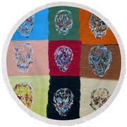 Skull Pop Nine Round Beach Towel