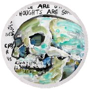Skull Quoting Oscar Wilde.10 Round Beach Towel