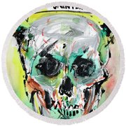 Skull Quoting Oscar Wilde.8 Round Beach Towel