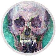 Skull Vampire Oil Portrait Round Beach Towel