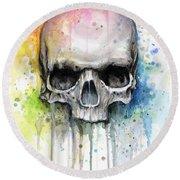 Skull Watercolor Painting Round Beach Towel