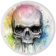 Skull Watercolor Painting Round Beach Towel