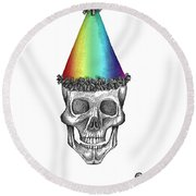 Skull With Rainbow Hat Round Beach Towel