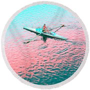 Skulling Boat At Sunset Round Beach Towel