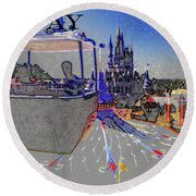 Skway Magic Kingdom Round Beach Towel