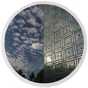 Sky And Building Round Beach Towel by Gary Eason