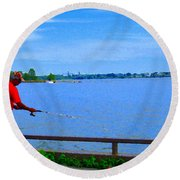 Sky Blue Calm Waters Fisherman On The Pier  Lachine Canal Montreal Summer Scenes Carole Spandau Round Beach Towel