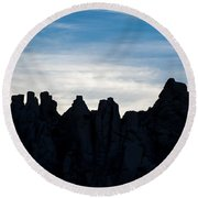 Sky Castles - The Mojave Round Beach Towel