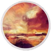 Sky Fire Abstract Realism Round Beach Towel