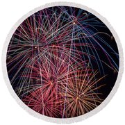Sky Full Of Fireworks Round Beach Towel