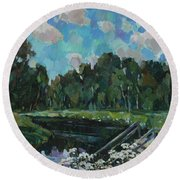 Sky In The River Round Beach Towel