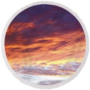 Sky On Fire Round Beach Towel by Les Cunliffe