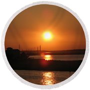 Sky On Fire Over Chincoteague Island Round Beach Towel
