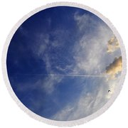 Sky Plane Bird From The Series The Imprint Of Man In Nature Round Beach Towel