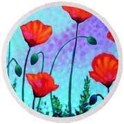 Sky Poppies Round Beach Towel