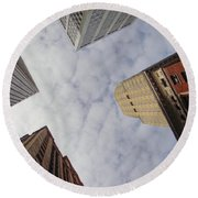 Sky Scrapers Round Beach Towel