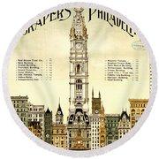 Sky Scrapers Of Philadelphia 1896 Round Beach Towel