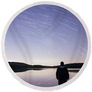 Sky Trails Round Beach Towel
