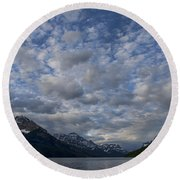 Sky Water Mountains Round Beach Towel