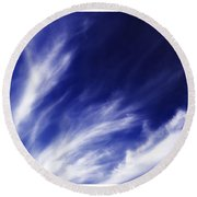 Sky Wisps Blue Round Beach Towel