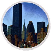 Skyline From Roosevelt Island Round Beach Towel