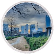 Skyline Of A Big City In South - Charlotte Nc Round Beach Towel
