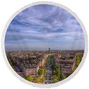 Skyline Of Paris Round Beach Towel