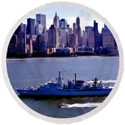 Skyline Steaming Round Beach Towel by Benjamin Yeager